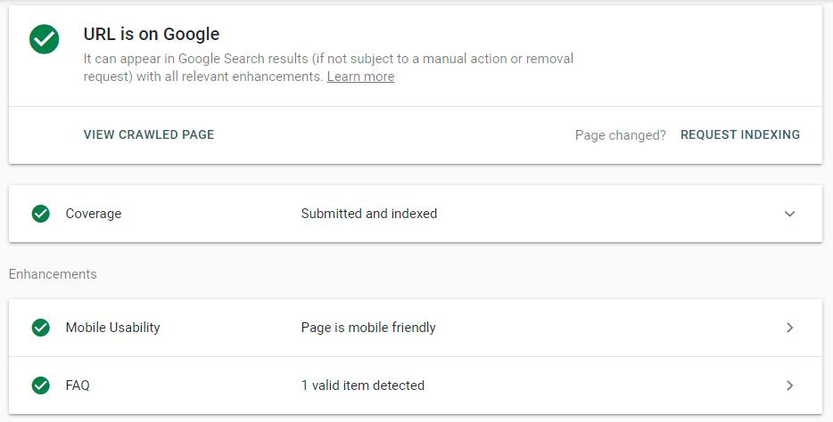 URL is on Google Index