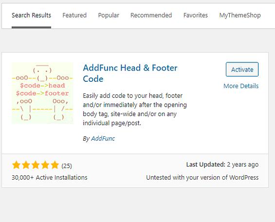 AddFunc Head & Footer Code Plugin