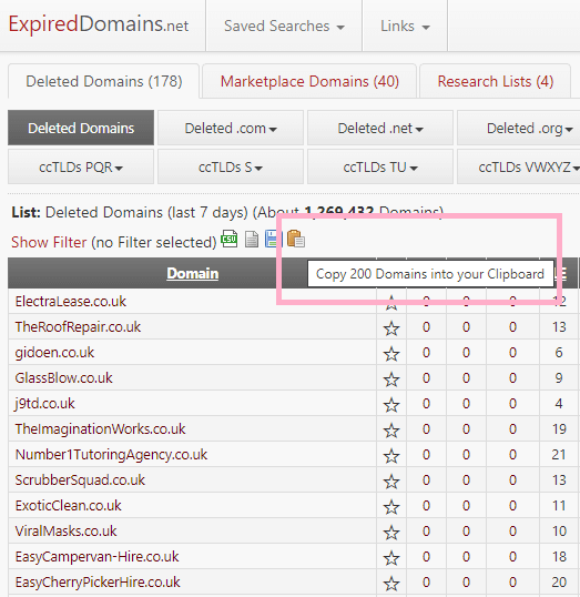 Copy all 200 expired domains