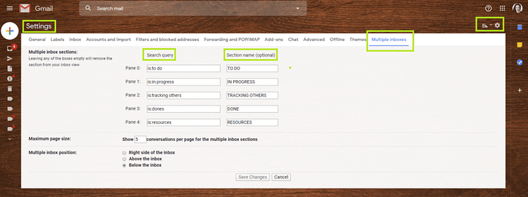 Second, go to Multiple Inboxes. You have two fields to fill