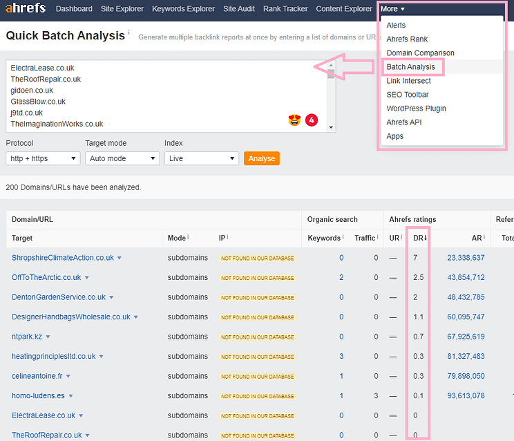 Check Expired Domains with Ahrefs Batch Analysis